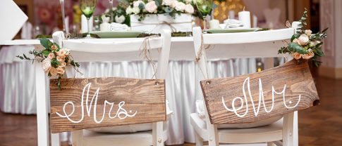 Mr & Mrs marriage hanging decor with wooden layout
