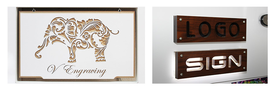 elephant engraved wooden sign - Front Signs