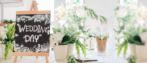 wedding chalkboard welcoming a-frame