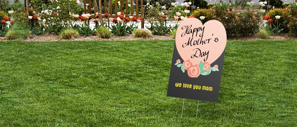 Happy mother's day heart shaped a-frame yard sign