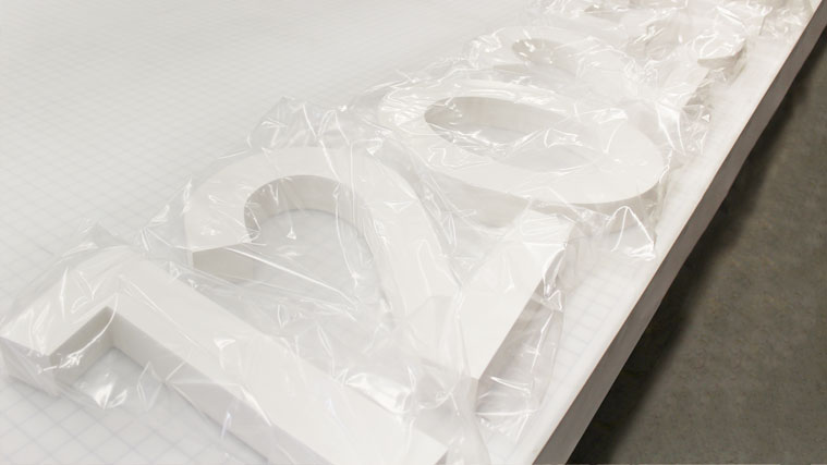 White numbers made of the combination of Foamboard and Styrene