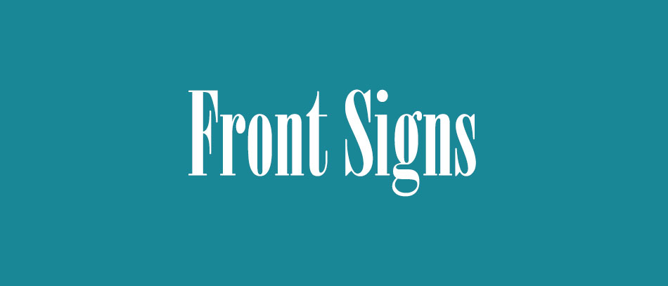 Front Signs Bodoni font
