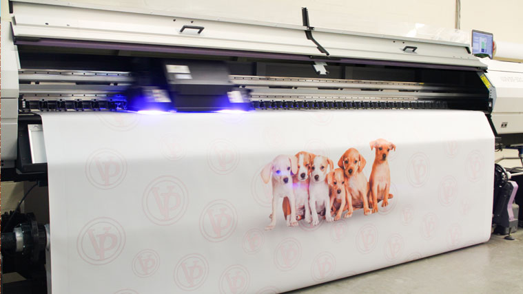 Printing a Vinyl Banner with the logo of the company and puppies