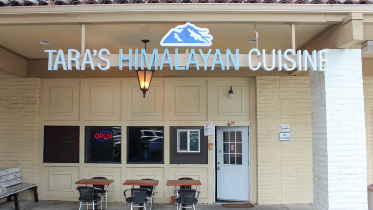 Under Awning Sign for Tara's Himalayan Cuisine restaurant