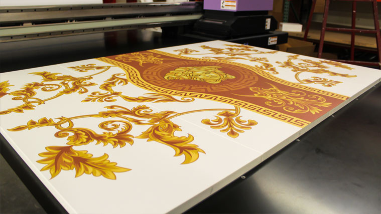 Decorative Printed Canvas Collage with the logo of Versace