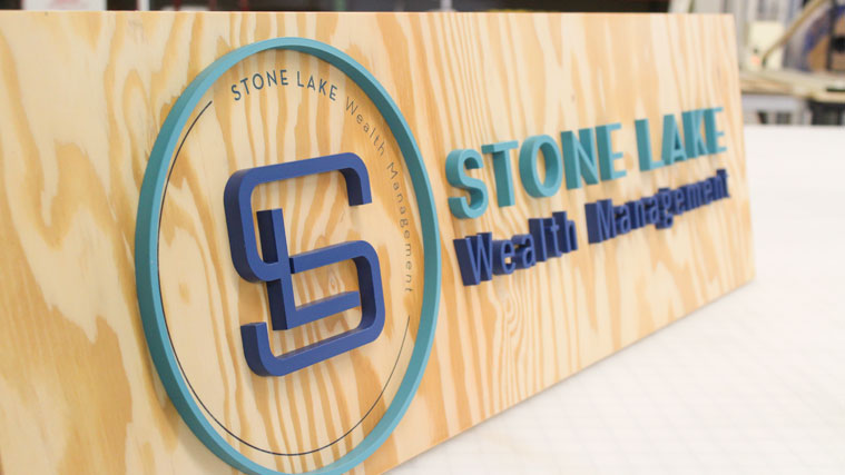 Wooden and Acrylic Business Sign with the name of the company