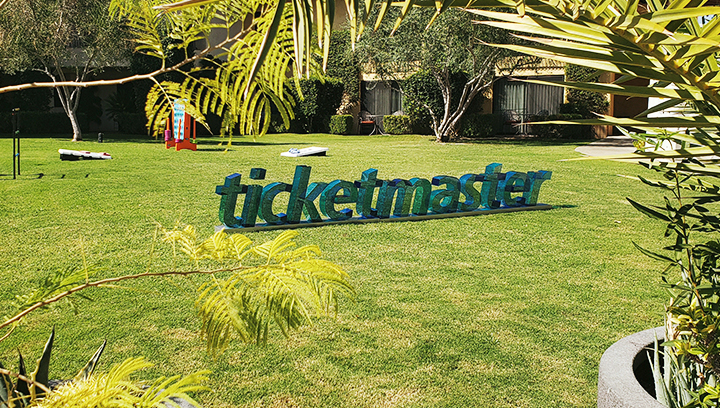 Ticketmaster freestanding 3d letters with clear transparency made of acrylic