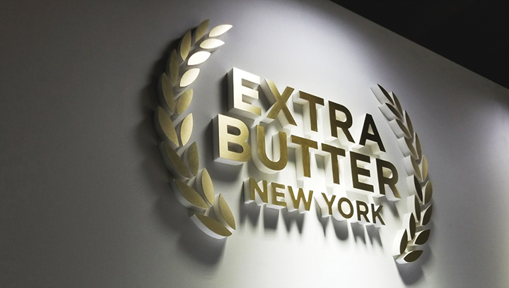 Extra Butter New York foam core 3d letters with a gold finish made of ultra board