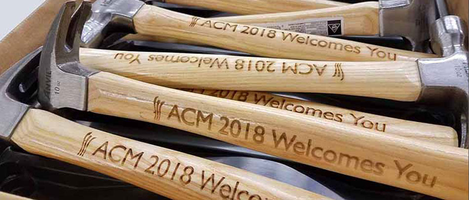 ACM-2018-welcome-hammers-with-laser-engravings