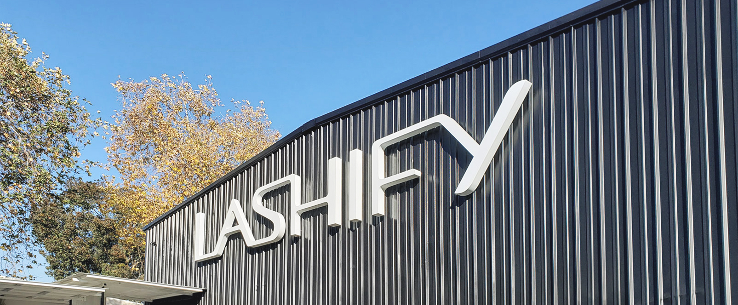 Lashify 3d channel letter sign painted in white color made of aluminum and acrylic