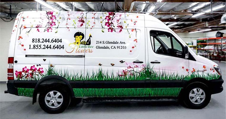 little bee flowers car branding