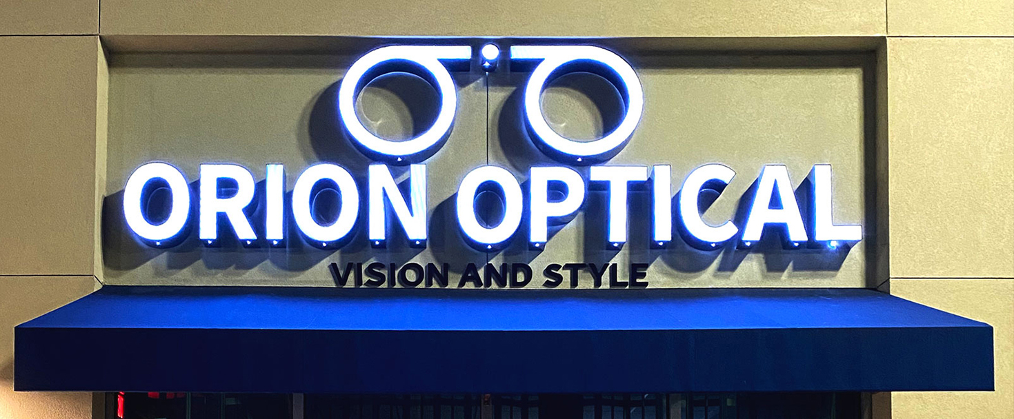 Orion Optical illuminated 3d sign made of aluminum and acrylic for business visibility