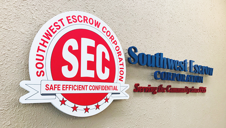 Southwest Escrow Corporation pin-mounted 3d sign letters made of acrylic
