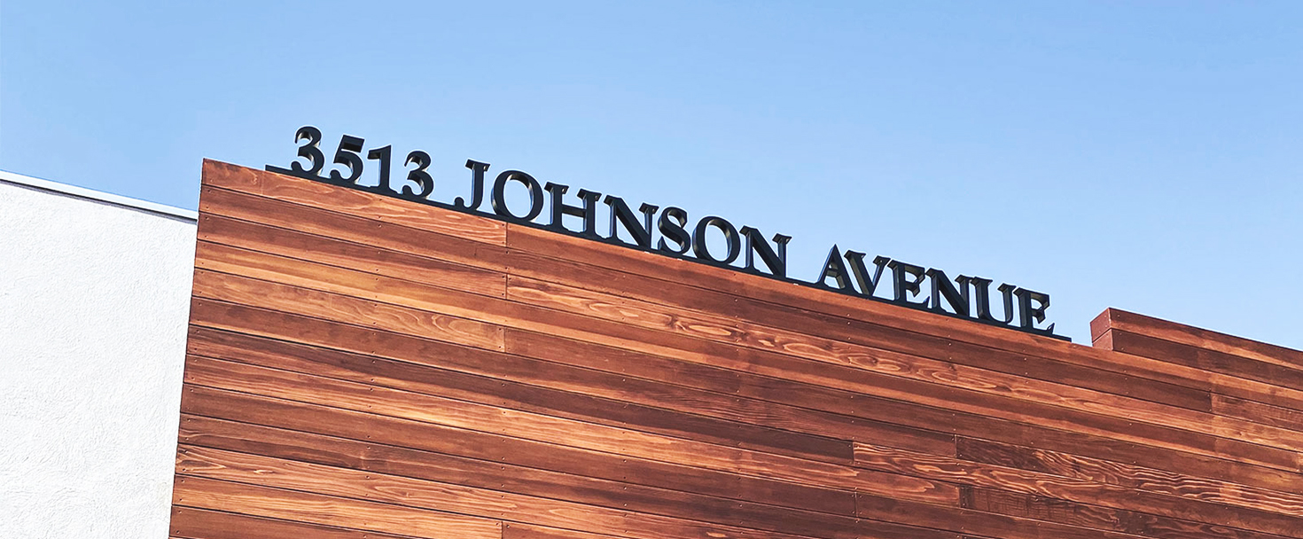 Johnson Avenue 3d acrylic letters and numbers for displaying business address on the rooftop