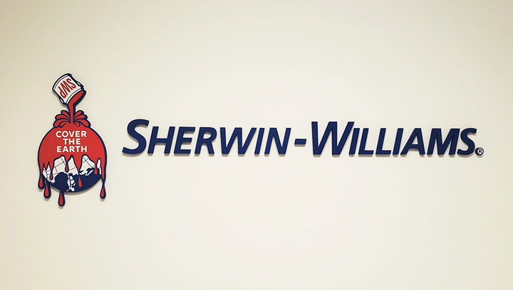 Sherwin-Williams plastic 3d letters displaying the company name and logo made of acrylic
