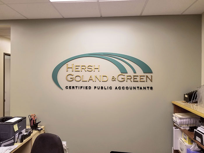 ultraborad logo sign and compnay name for office interior branding