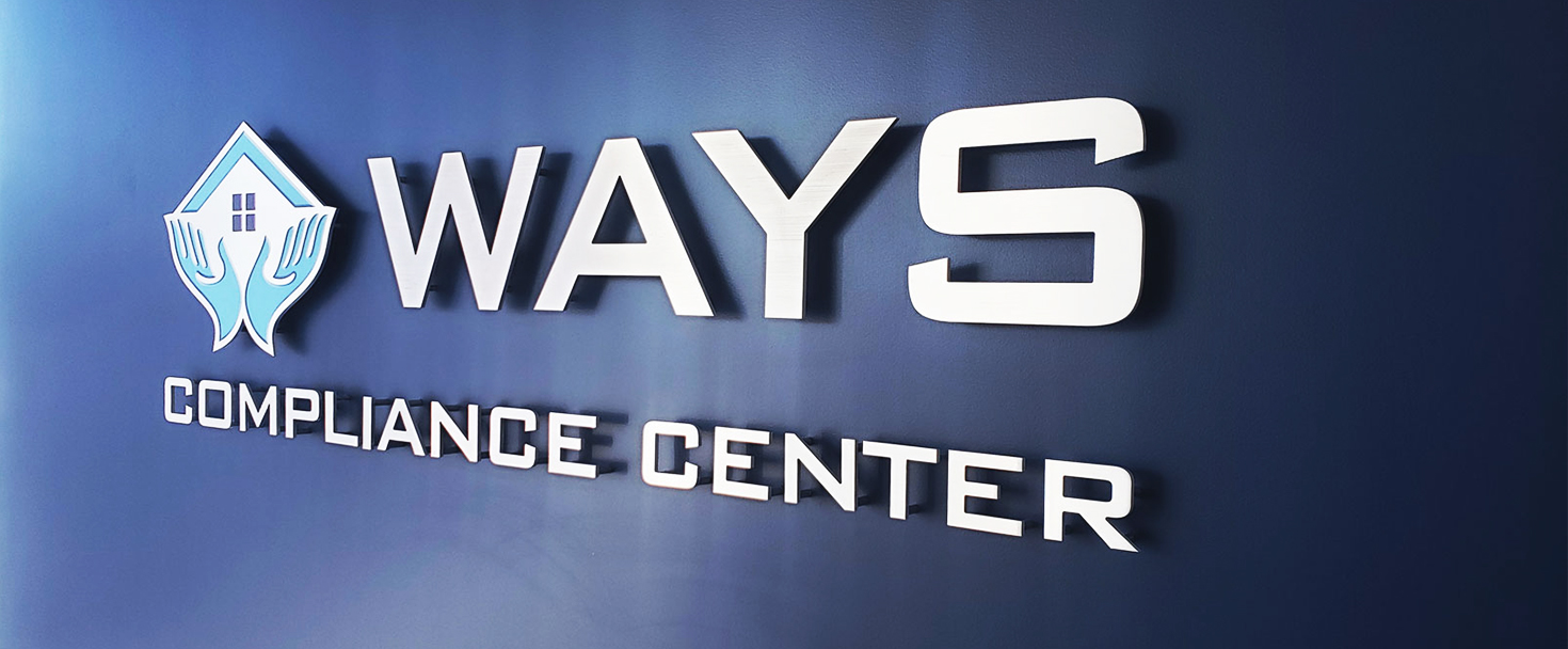 Ways Compliance Center 3d logo sign and brand name letters made of brushed aluminum