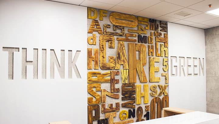 Ameriabank wooden 3d letters custom-cut and fixed to the wall in a random order