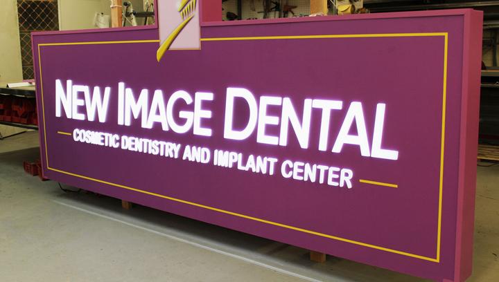 New Image Dental push through light up sign