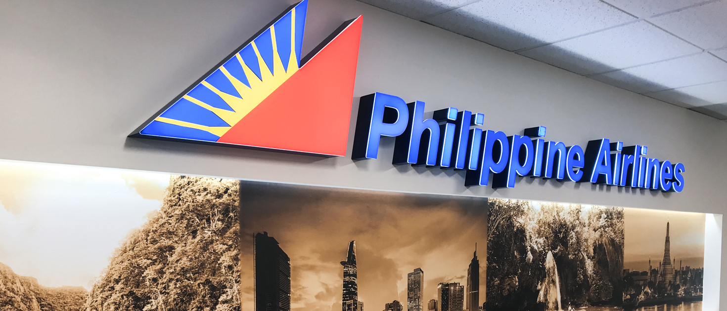 Philippine Airlines illuminated letters