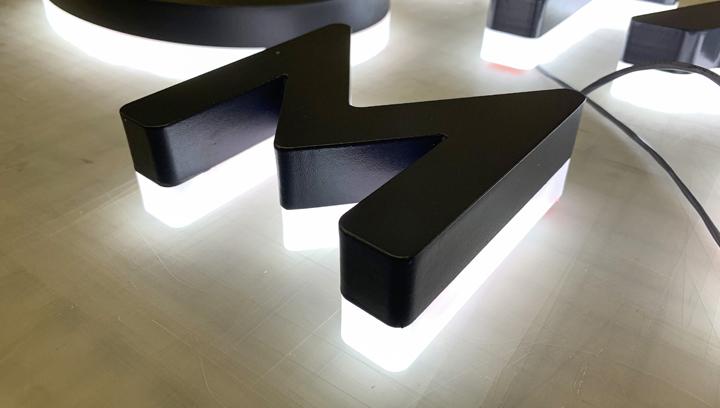 backlit dimensional sign