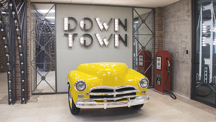 Ameriabank custom lobby branding signs with a car decoration made of aluminum