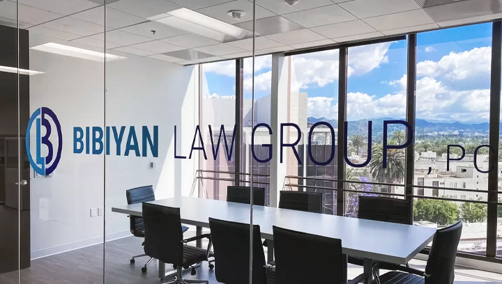 Bibiyan Law Group office conference room branding sign made of opaque vinyl