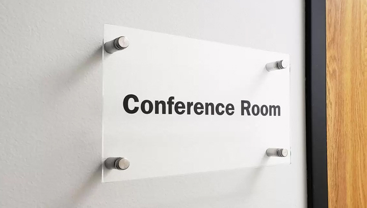 Conference Room office door sign displaying the room name made of acrylic