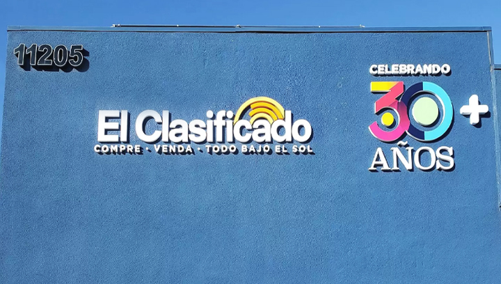 El Clasificado custom office exterior signs with brand name 3D letters made of PVC