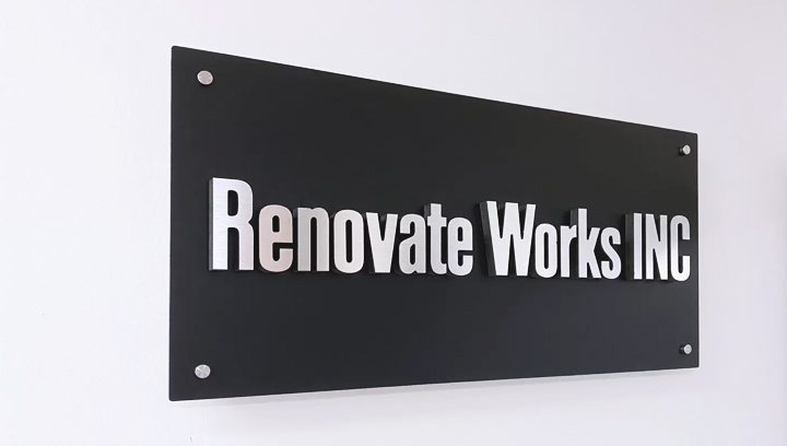 Renovate Works Inc foam core office sign in black color made of aluminum and ultra board