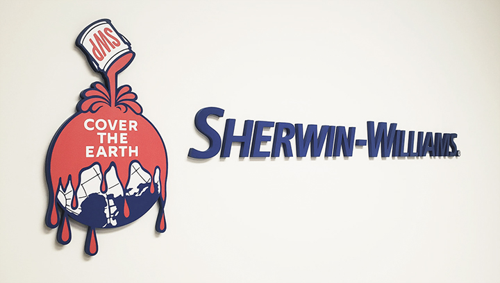 Sherwin Williams 3D logo lobby sign in blue, red, and white colors made of acrylic
