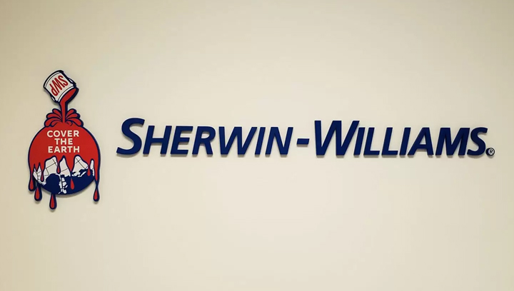 Sherwin-Williams dimensional office sign displaying the company name and logo made of acrylic