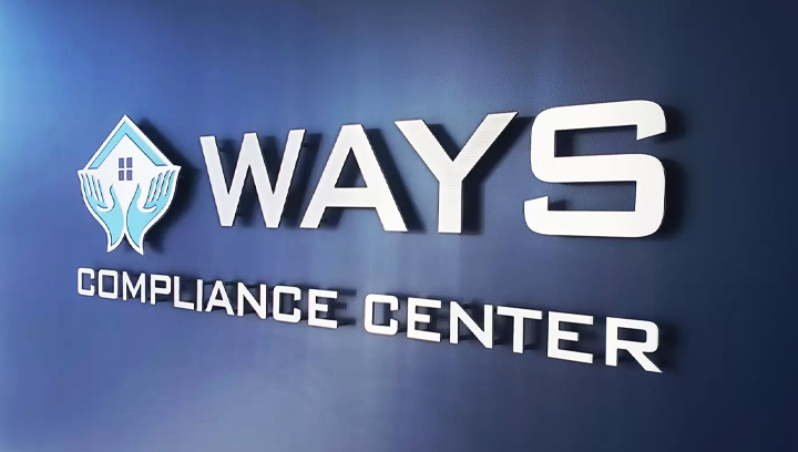 Ways Compliance Center metal office sign in white color made of brushed aluminum