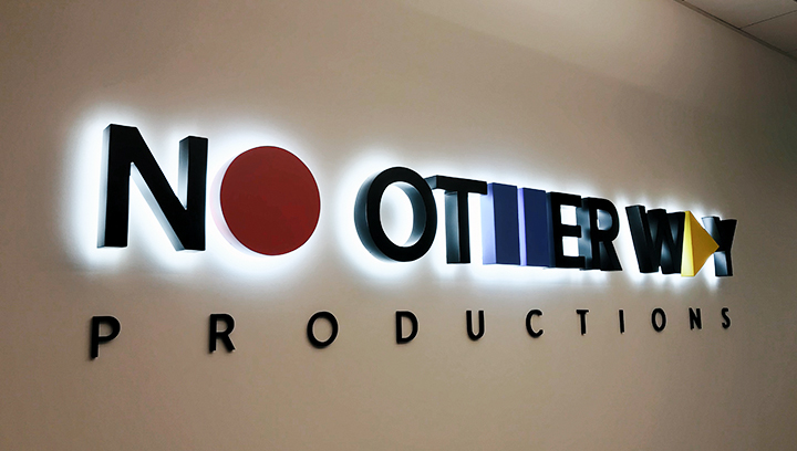 No Other Way Productions illuminated lobby sign made of acrylic and aluminum for indoor design
