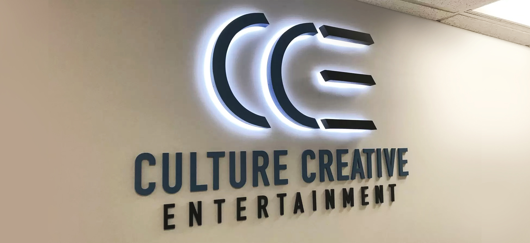 Culture Creative Entertainment 3D branding office sign made of aluminum and acrylic