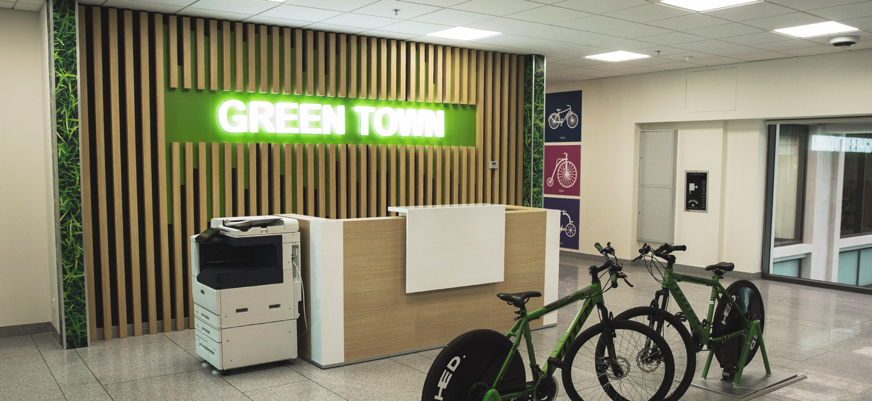 Ameriabank reception area sign with illumination made of acrylic and wood for interior design