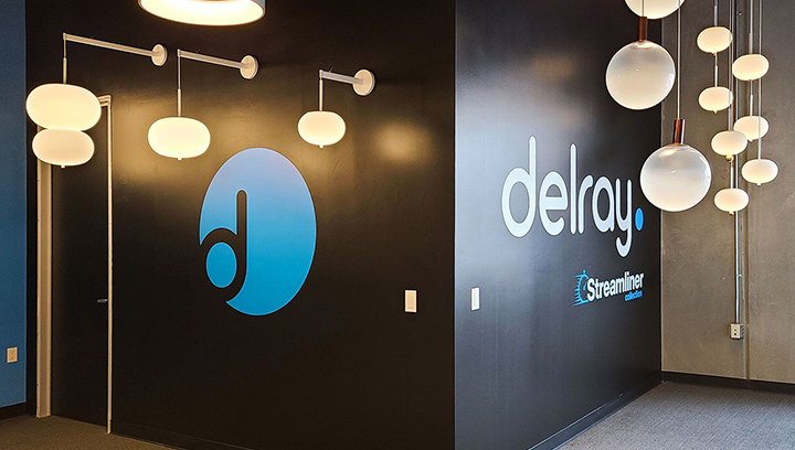 Delray Streamliner Collection custom logo decal made of opaque vinyl for office branding