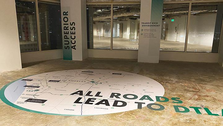 DTLA indoor custom decals displaying address map made of opaque vinyl applied to the floor