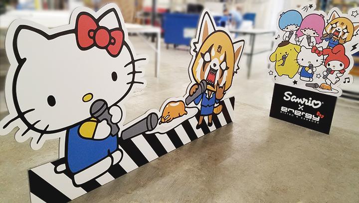 cartoon custom foam board cut-outs displaying Hello Kitty characters made of gator board
