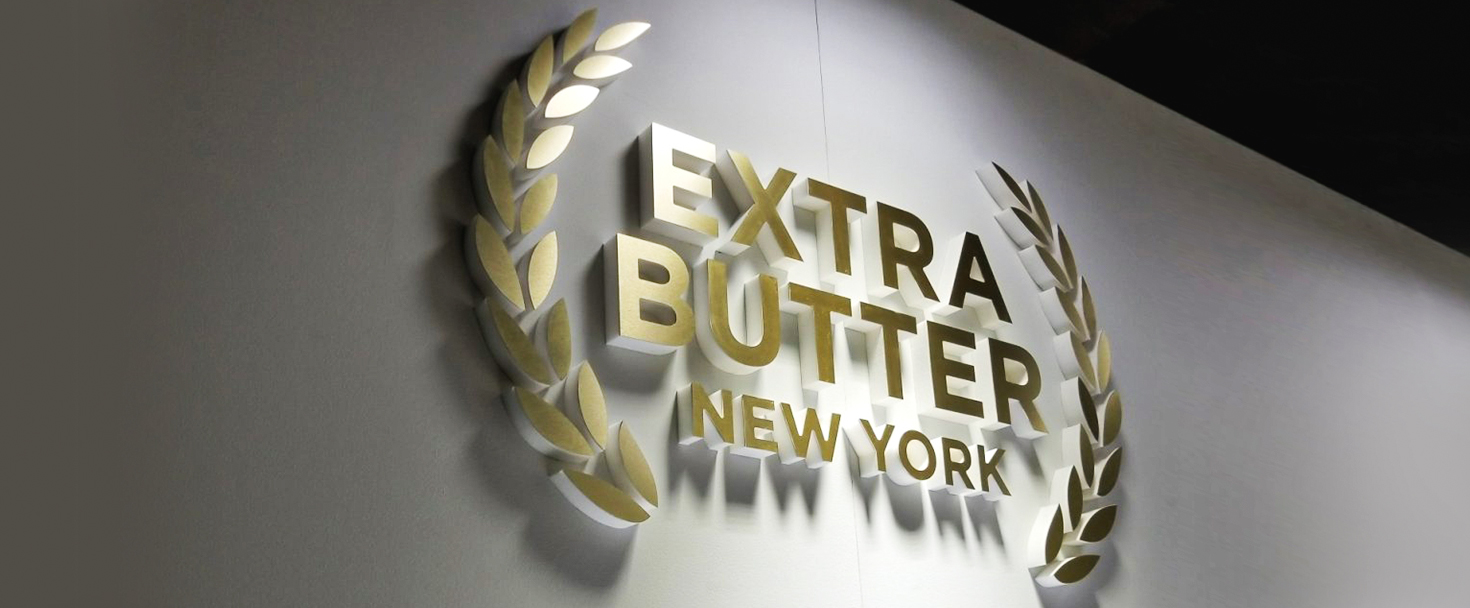 Extra Butter New York foam logo cut-out made of ultra board for interior branding