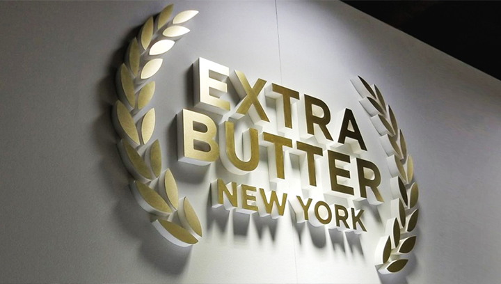 Extra Butter New York foam core logo sign made of ultra board for interior branding