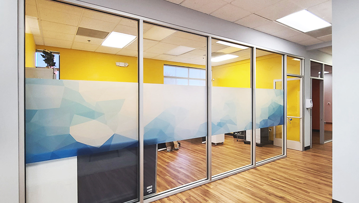 frosted lobby graphics with custom prints displayed on the office windows for interior design
