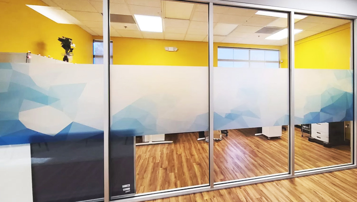 interior office graphics in blue and white made of frosted vinyl for window design