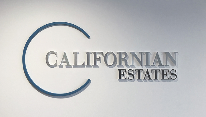 Californian Estates wall mounted foam core sign made of ultra board for office branding
