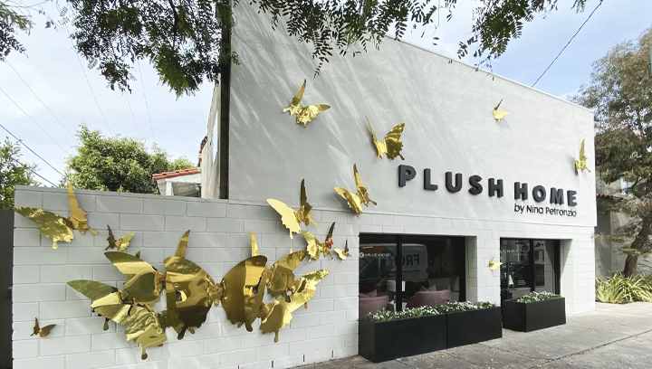 Plush Home office exterior decorative sign with butterflies made of aluminum for store design