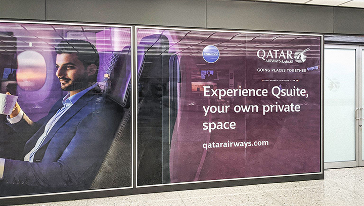 Qatar Airways vinyl decals in a promotional style made of opaque vinyl applied to the wall