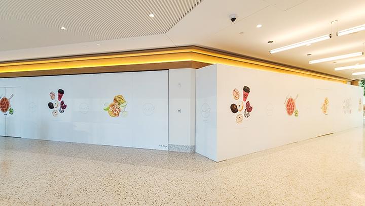 Halo custom vinyl decals displaying foods made of opaque vinyl for restaurant indoor branding