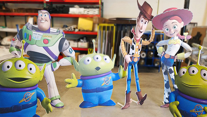 free standing foam board signs displaying Toy Story cartoon characters