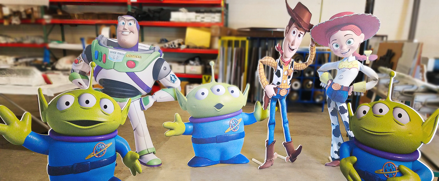 cartoon custom foam board cut-outs in a free-standing style displaying Toy Story characters