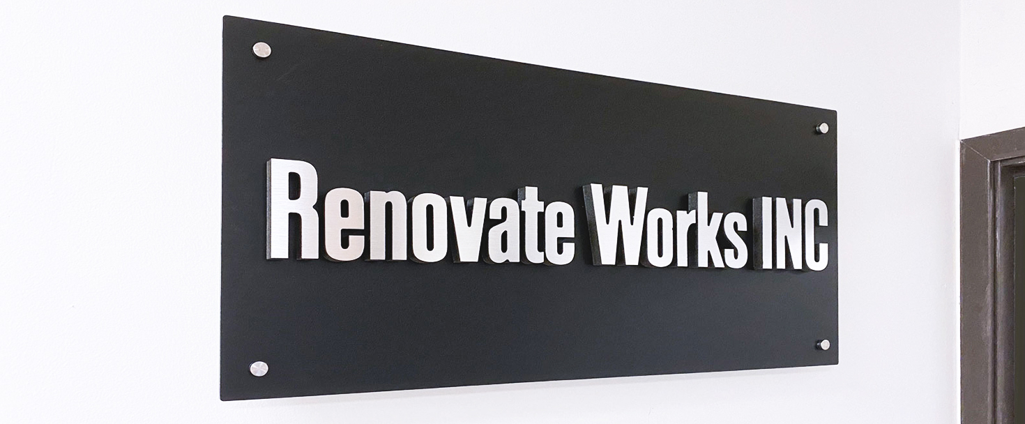 Renovate Works Inc foam core sign with brand name 3d letters made of ultra board